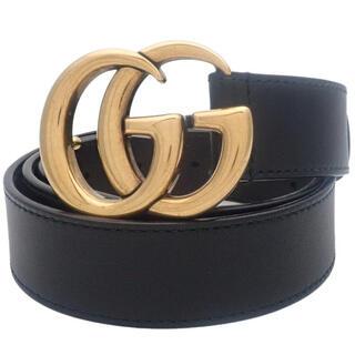 Gucci - グッチ ダブルG バックル ベルト レザー ブラック黒 40800075307