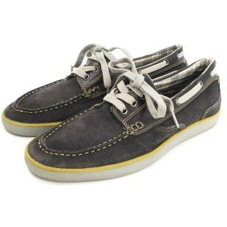 クラークス(Clarks)のクラークス デッキシューズ 63567 レザー グレー 茶 ブラウン系 9M 靴(デッキシューズ)