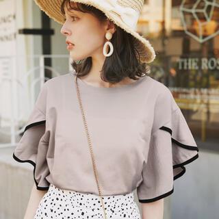 グレイル(GRL)のGRL❤バイカラーフリル袖パイピングTシャツ(Tシャツ(半袖/袖なし))