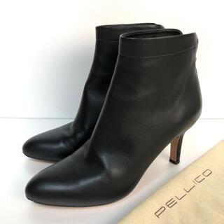 ペリーコ(PELLICO)の美品 35 PELLICO バックジップ ショートブーツ 黒 ペリーコ(ブーツ)