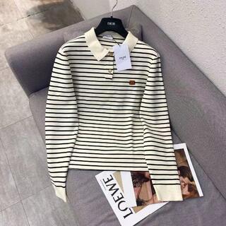 celine - CELINE 黒と白のストライプのセーター