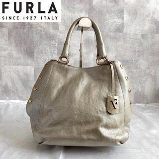 フルラ(Furla)の【FURLA】フルラ 希少 2way トートバッグ  レザー シルバー A4収納(トートバッグ)