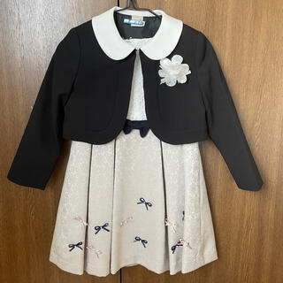 petit main - petit main コサージュ付リボンジャカードワンピース衿つき 110cm