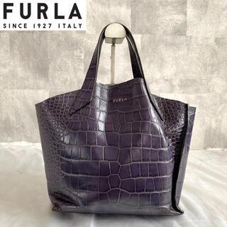 フルラ(Furla)の【FURLA】フルラ 希少 クロコ型押し レザー トートバッグ ネイビー ブルー(トートバッグ)