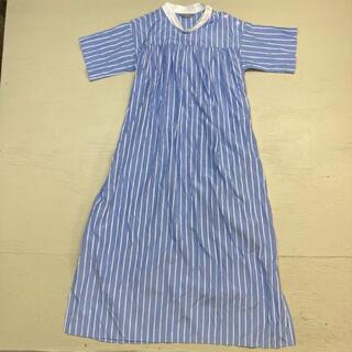 Noble - ALANI THE GREY ストライプシャツドレス スタンドカラーワンピース
