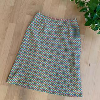 クレージュ(Courreges)のcourreges クレージュ モザイク柄スカート ピンク 水色 黄緑 茶色(ひざ丈スカート)