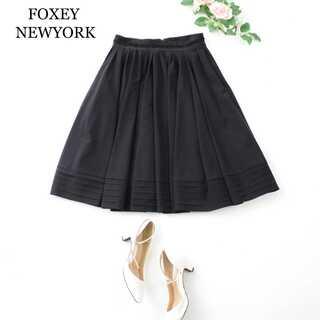 FOXEY - フォクシーニューヨーク★ギャザー フレアスカート 膝丈 黒 ブラック 40(M)