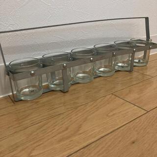 ガラス スチール キャンドルホルダー 花瓶