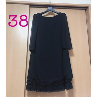 FOXEY - 【美品】フォクシーNY  ブラック シフォンワンピース38 七分袖 裾フリル