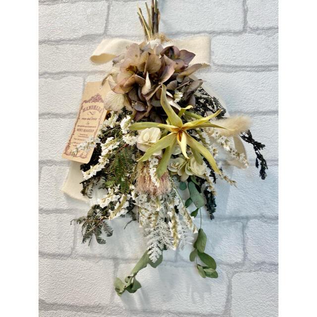 ドライフラワー スワッグ❁51あじさい 紫陽花 ワイルドフラワー 紫 白 花束 ハンドメイドのフラワー/ガーデン(ドライフラワー)の商品写真