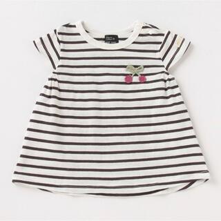 petit main - プティマイン 130 オーガビッツ 接触冷感 編みモチーフTシャツ