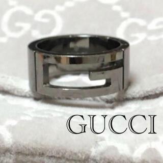 Gucci - GUCCI カットアウト Gロゴ ブラック 指輪