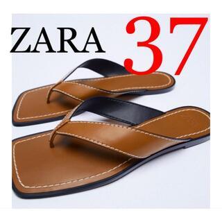 ZARA - 7 ZARA ザラ 新品 トップステッチ&スクエアトゥ フラットサンダル 37