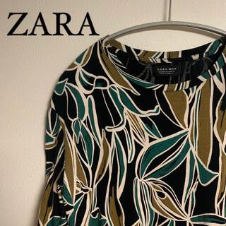 ZARA - ZARA ザラ 総柄 ボタニカル Tシャツ 黒 サイズM