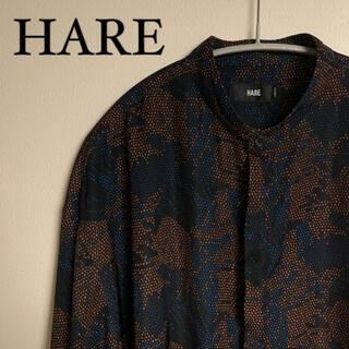 HARE - 【美品】HARE ハレ マルチカラー 総柄 シャツ バンドカラー きれいめ