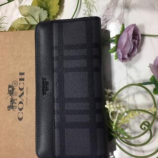 COACH -   【新品 正規品 未使用】 コーチ メンズチェック グレー 長財布