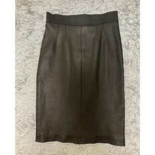 ドルチェアンドガッバーナ(DOLCE&GABBANA)のDOLCE&GABBANA レザースカート(ひざ丈スカート)