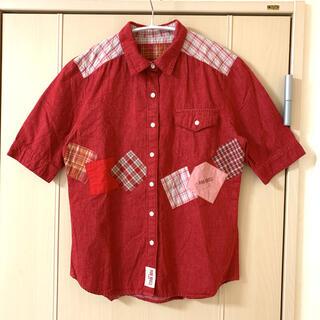ピンクハウス(PINK HOUSE)のPINKHOUSE パッチワーク デニムシャツ チェック 美品(シャツ/ブラウス(半袖/袖なし))