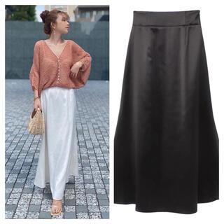eimy istoire - タグ付き新品 eimy シンプル サテン スカート ブラック