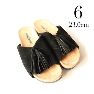 ミネトンカ(Minnetonka)のミネトンカ✨タッセル フラットサンダル ブラック 23cm 6(サンダル)