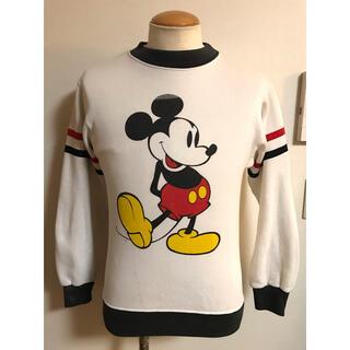 Disney - USA製 ビンテージ ミッキーマウス スウェット S 袖ライン xpv