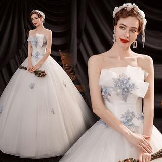 ウエディングドレス チューブトップ プリセンス パフスカート 花嫁