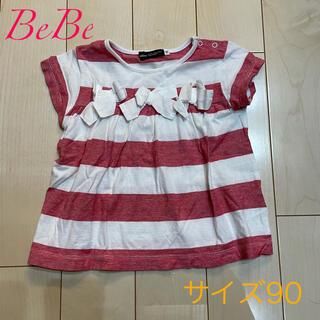 ベベ(BeBe)のBeBeべべ☆リボンボーダーTシャツ サイズ90(Tシャツ/カットソー)