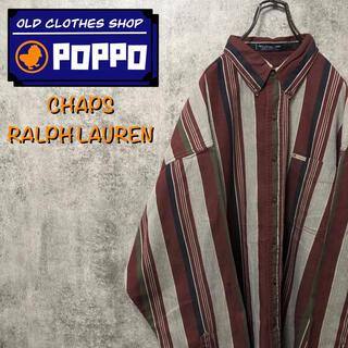 Ralph Lauren - チャップスラルフローレン☆ポケットロゴタグレトロストライプシャツ 90s