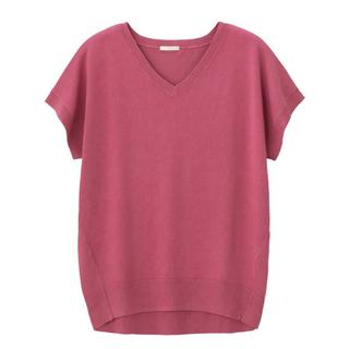 GU - 【GU/ジーユー】オーバーサイズVネックセーター(半袖)/サマーニット/ピンク