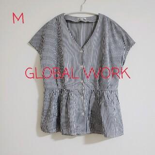 グローバルワーク(GLOBAL WORK)の☆美品☆【GLOBAL WORK】ペプラム ストライプ ブラウス Mサイズ(シャツ/ブラウス(半袖/袖なし))
