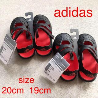 adidas - 未使用 adidas サンダル  1足 黒 19cm