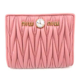 miumiu - ミュウミュウ マテラッセ 二つ折り レザー 財布 ビジュー ロゴ ピンク