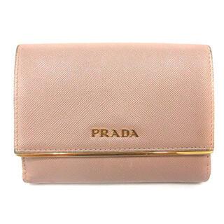 PRADA - プラダ サフィアーノ 三つ折り財布 ロゴ レザー ピンク