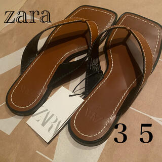 ZARA - ZARA トップステッチ&スクエアトゥ フラットサンダル 35
