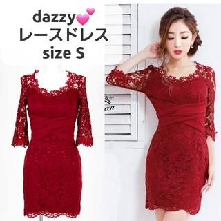 デイジーストア(dazzy store)のシアーレースワンカラー七分袖タイトミニドレス  ワインレッド S(ミニドレス)