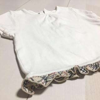 バーバリー(BURBERRY)のBURBERRY 半袖カットソー 80 ノバチェック 文字ロゴ 子供服(Tシャツ)
