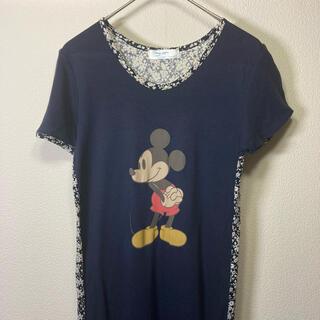 ディズニー(Disney)のミッキーマウス Tシャツ ワンピース Mサイズ ネイビー 花柄(ロングワンピース/マキシワンピース)