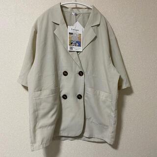 シマムラ(しまむら)のしまむら ダブルテーラードジャケット リネンライク 濃白 アイボリー(テーラードジャケット)