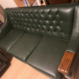 カリモク家具 - 元値10万円!3人掛けソファ レザーソファ グリーン 7月30日までに!
