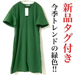 ZARA - ワンピース 緑 グリーン 半袖 体型カバー 膝丈 レディース 新品未使用タグ付き