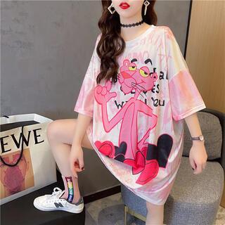 ピンクパンサー×ハートビッグシルエットメッシュTシャツ♡ピンクディズニーUSJ