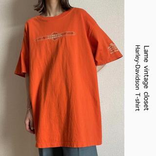 Harley Davidson - 90s 古着 ハーレーダビッドソン 刺繍ロゴ Tシャツ オレンジ ビンテージ