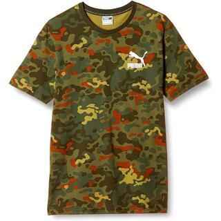 PUMA - プーマ 半袖Tシャツ メンズ Sサイズ カモフラ柄 グリーン 迷彩柄