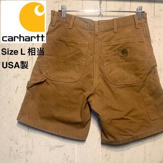 カーハート(carhartt)のCarhartt  ショートパンツダック生地 革パッチ 一点物 USA 製(その他)