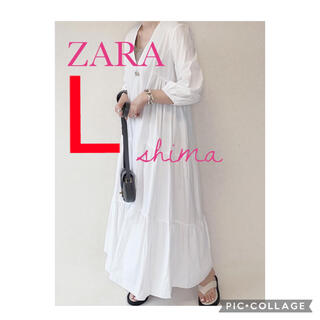 ZARA - ZARA コットンパネルワンピース ロングワンピース Vネックワンピース