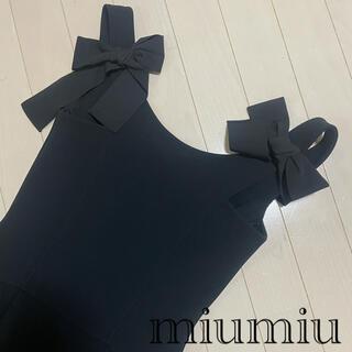 ミュウミュウ(miumiu)のmiumiu 後ろリボン ワンピース(ミニワンピース)