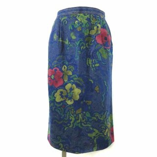 レオナール(LEONARD)のレオナール デニム スカート ひざ丈 花柄 シルク100% 66(ひざ丈スカート)