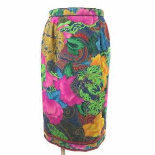 レオナール(LEONARD)のレオナール FASHION デニム スカート ひざ丈 花柄 シルク100% 66(ひざ丈スカート)