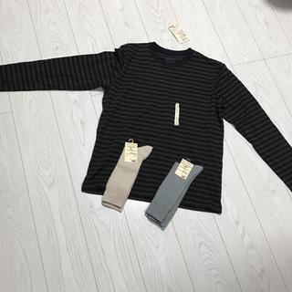 ムジルシリョウヒン(MUJI (無印良品))の新品未使用タグ付き無印良品クールネック長袖Tシャツ靴下ソックスmujiまとめ売り(Tシャツ/カットソー(七分/長袖))