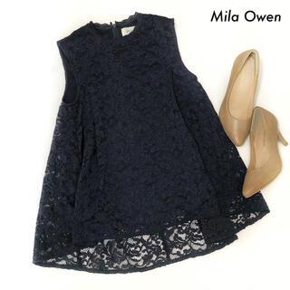 Mila Owen - Mila Owen ミラオーウェン★総レース ノースリーブブラウス ネイビー 紺